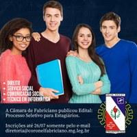 Câmara de Fabriciano publica editais para contratação de estagiários