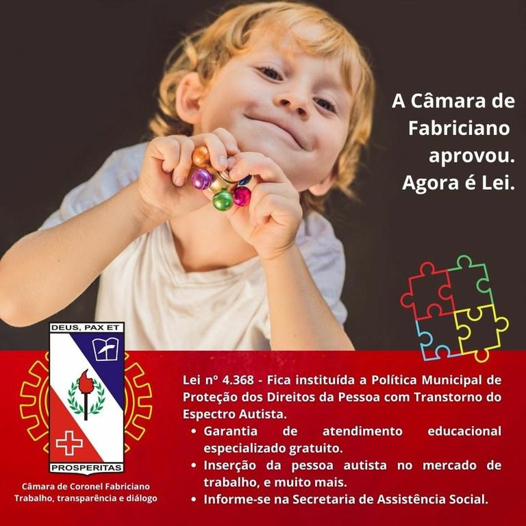 Lei que institui a Política Municipal de Proteção dos Direitos da pessoa com Transtorno do Espectro Autista é sancionada em Fabriciano.